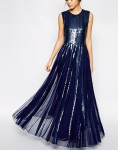 gooooorgeus - navy sequin embellished maxi dress