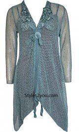 Unique woman's top! Pretty Angel Clothing Loral Cardigan Tunic In Aqua