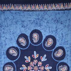 Handmade Cotton Multi Batik Floral Mandala Block Print Curtain Drape Blue 47x85