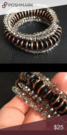 WRAP CRYSTAL & BEAD BRACELET Super cute crystal and beaded wrap bracelet. Was a gift, barely worn. In great condition. Jewelry Bracelets
