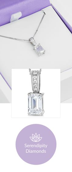Diamond solitaire pendants. A unique collection of dazzling diamond necklace designs. This example features an Emerald cut diamond, accented with a pavé diamond set loop. View online at Serendipity Diamonds.