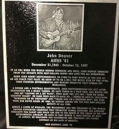 Menorial plaque installed at Arlington Heights High School, Arlington - Texas, in honor of John Denver...
