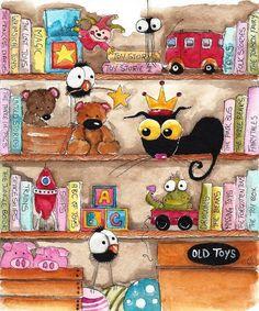 Original watercolor painting whimsical Stressie Cat bird crow Toy Shelf  #IllustrationArt