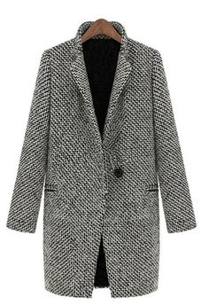Black White Notch Stand Collar Long Sleeve Oversize Houndstooth Coat