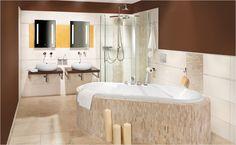 Velkoformátové obklady, samostatně stojící umyvadla a vana jsou velmi moderní. Navíc dodají koupelně šmrnc! Corner Bathtub, Sink, Bathroom, Design, Home Decor, Sink Tops, Washroom, Vessel Sink, Decoration Home