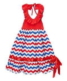 Wholesale - Red & Blue Chevron 4th of July Maxi Dress