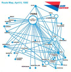 Air Inter ( France ) Route Map - and their stupid UM bibs that made me feel like a baby. Enjoyed the rides, though.