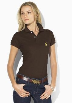 ralph lauren outlet Women\u0026#39;s Classic-Fit Short Sleeve Polo Shirt Chocolate http://