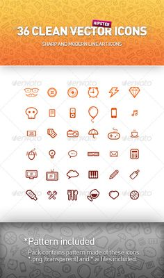 36 Clean Vector Icons  Buy it here!  http://graphicriver.net/item/36-clean-vector-icons/2720801