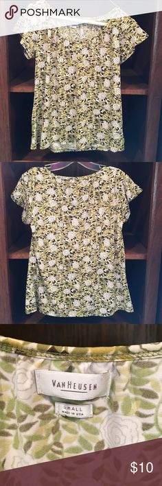 Shirt Green and brown, polyester 95%, spandex 5%, great condition, floral print. Van Heusen Tops