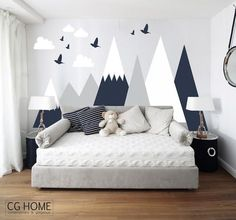 Mountains Wall Decal Woodland Baby Room Decal Clouds Birds Toddlers Custom Personalized Washable Headboard Sticker Nursery Headboard Protect Baby room – Home Decoration Baby Bedroom, Baby Boy Rooms, Bedroom Wall, Kids Bedroom, Bedroom Decor, Nursery Decor, Childrens Bedrooms Boys, Kids Rooms, Nursery Boy