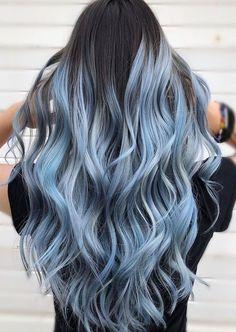Blue Hair Highlights For Black Hair . Blue Hair Highlights blue hair highlights for black hair ~ bl Cute Hair Colors, Pretty Hair Color, Ombre Hair Color, Blue Hair Streaks, Brown Hair Dyed Blue, Blue Hair Dye Colors, Pastel Ombre Hair, Blue Hair Balayage, Light Blue Ombre Hair