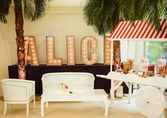 Jo Malone's Peony and Blush Suede scented the marquee while palm trees…