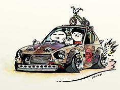 "car illustration""crazy car art""jdm japanese old school ""S30Z""original cartoon ""mame mame rock""  /  © ozizo"