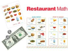 Restaurant Math: Have each kid choose what they want off the menu and circle the items on their ticket. After they have chosen their cuisine, have them add up the amount on their ticket.  Kids can take turns being the waiter / waitress.  To make it more of a challenge, give students a budget.  Pass out play money, then have kids figure out what they can order with the amount of money they have.