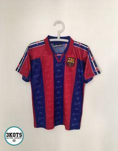 1b314684701 BARCELONA FC 1995 97 Home Football Shirt (YM 12) Soccer Jersey KAPPA Vintage