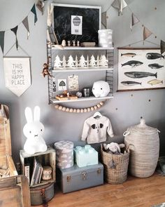 Neutral steel blue, grey and tan boy's nursery with natural accents. Baby Bedroom, Kids Bedroom, Deco Kids, Kid Spaces, Kids Decor, Boy Room, Room Inspiration, Room Decor, Nursery