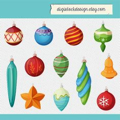Colorful Christmas Ornaments Clipart By Digistockdesign