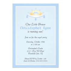 little prince brithday invitations   Blue Prince Crown Birthday Party Invitation from Zazzle.com