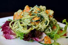 Roasted Sweet Potato with Coconut Basil Pesto Pasta at http://Vegans.ws