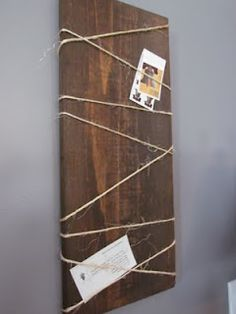 DIY - {Wood Hanging Note Board} this would be awesome with a plank of driftwood