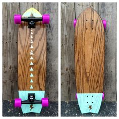 Mission Oak, Baby Blue to Lemon Paint, Purple WheelsBoard Measurements = 32x9This is a one-of-a-kind, handmade, solid oak longboard. This board is designed for daily cruising and commuting. Every board is cut, shaped, finished, and painted by hand and topped with our special extra-grippy poly/tread blend. Proceeds from every board go into a college fund for the youth we employ. Salemtown Board Co. exists to build the highest quality, hand-made skateboards, and to employ, train, and ment...