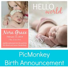 $.10 Birth announcement using PicMonkey and drug store printing.  Get a lush look without the high price.