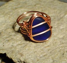 Sea Glass Jewelry Cobalt Blue Sea Glass Ring by MoreThanSeaGlass