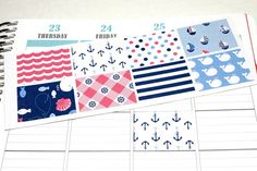 8 Nautical Stickers for Plum Paper Planners! Cut for Plum Paper but can be customized to fit other planners!