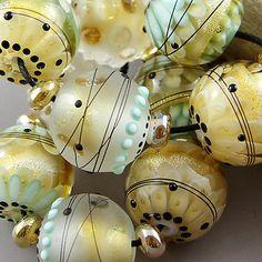 Magma+Beads+~Antique+gold~+Handmade+Lampwork+Beads.