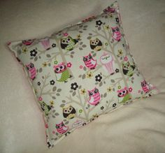 """Mytime"" Accents by Dylynn ~ Owl Pillow ~ reversible side of Pink Polka Dots Pillow ~G~"