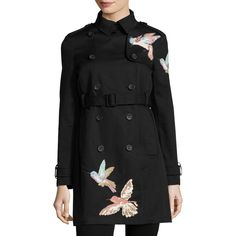 Red Valentino Double-Breasted Trench Coat w/ Embroidered Hummingbirds ($1,150) ❤ liked on Polyvore featuring outerwear, coats, nero, women's apparel coats, double breasted coat, slim trench coat, trench coat, long sleeve coat and double-breasted trench coats