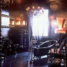 Black Gothic Bathroom Style With Black Clawfoot Tub And Chandelier And Sconces And Floor Lamp And Mirror , Mysterious Gothic Bathroom Styles In Bathroom Category