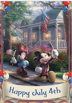 Disney's Mickey & Minnie Mouse Fourth Of July Independence Day Flag With Thomas Kinkade Art by The Hamilton Collection Mickey Mouse Cartoon, Mickey Mouse And Friends, Mickey Minnie Mouse, Disney Mickey, Walt Disney, Minnie Mouse Pictures, Disney Pictures, Happy July, Wallpaper Iphone Disney