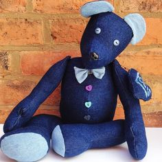 Handmade denim teddy bear for display only not a by IndigoArtisans