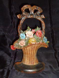 Hubley Flower basket Door Stop Cast Iron (signed).
