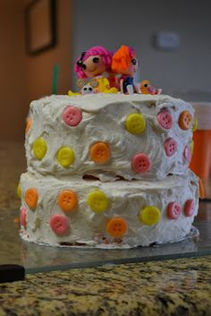 La La Loopsy Cake   SUPER simple with candy buttons and a couple minis on top  :)