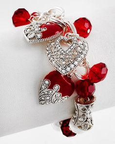 """Marcasite Heart Charm Bracelet  Antique Silver Tone, Red Glass  Size: Stretch, Charm: 1 1/4"""".....LOVE IT!"""