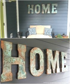 DIY Wall Art Stencil Tutorial with Royal Design Studio Stencils and Modern Masters Paints: Painted Patina Wall Letters for Outdoor Home Decor (via Positive Space) Stencil Wall Art, Diy Wall Art, Stencils, Stencil Diy, Diy Wand, Arte Pallet, Letter Wall, Wall Letters Decor, Diy Letters