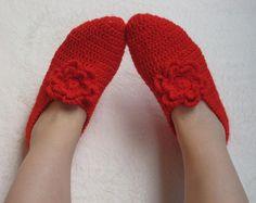 Crochet Slippers for Women Red flowers Slippers by selmahandcraft