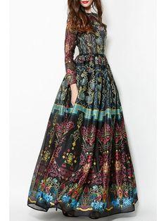 Colorful Vintage Print Maxi Voile Dress - BLACK XL