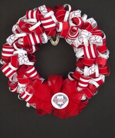 Philadelphia Phillies Ribbon Wreath- Baseball team wreaths