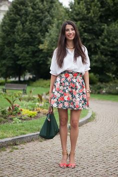H Flower Print A Skirt, Longchamp Medium Green Handbag, Vintage Batwing Blouse, Aldo Sandals