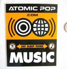 Vintage Indie Music Label Sticker Atomic Pop: LP CD Rap Hip Hop Promo New RARE