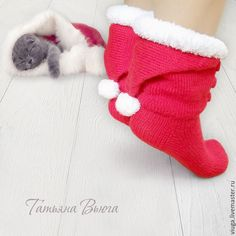 Купить Счастливое Рождество. Носки вязаные, шерстяные, подарок ручной работы…