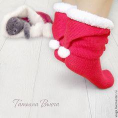 Купить Счастливое Рождество. Носки вязаные, шерстяные, подарок ручной работы - ярко-красный