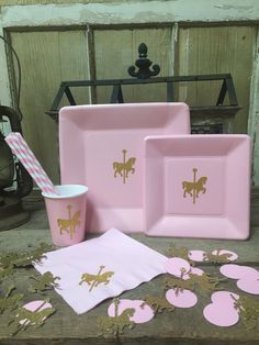 PARTY PACK... Carousel Horse Birthday Pink and Gold by TheTackyNut