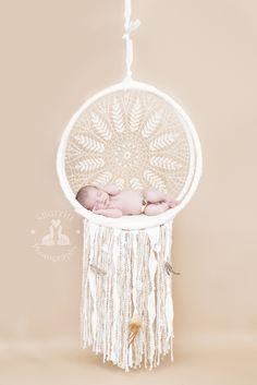 SBurritt Photography Canada Dream catcher newborn sleepy baby crochet doily feather yarn DIY photographer