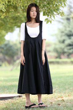 Black Pinafore Dress - Loose-Fitting Cool Long Black Maxi Linen Summer Suspender Dress Plus Size Clothing - Tima Klimontovich # # Maxi Dresses Uk, Plus Size Maxi Dresses, Linen Dresses, Plus Size Outfits, Flowing Dresses, Robe Pinafore, Black Midi Dress, Black Maxi, Black Pinafore Dress Outfit