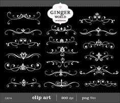 Flourish Clip Art Swirl vintage Border Calligraphy by GingerWorld